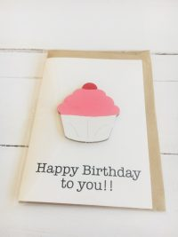 Wooden cupcake happy birthday card - pink - Sartorial Boutique and Gifts