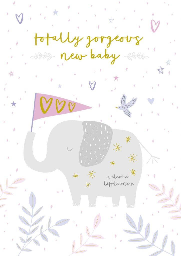 Jessica Hogarth - cute elephant - new baby girl card - sartorial boutique and gifts