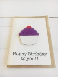 Wooden cupcake happy birthday card - purple - Sartorial Boutique and Gifts