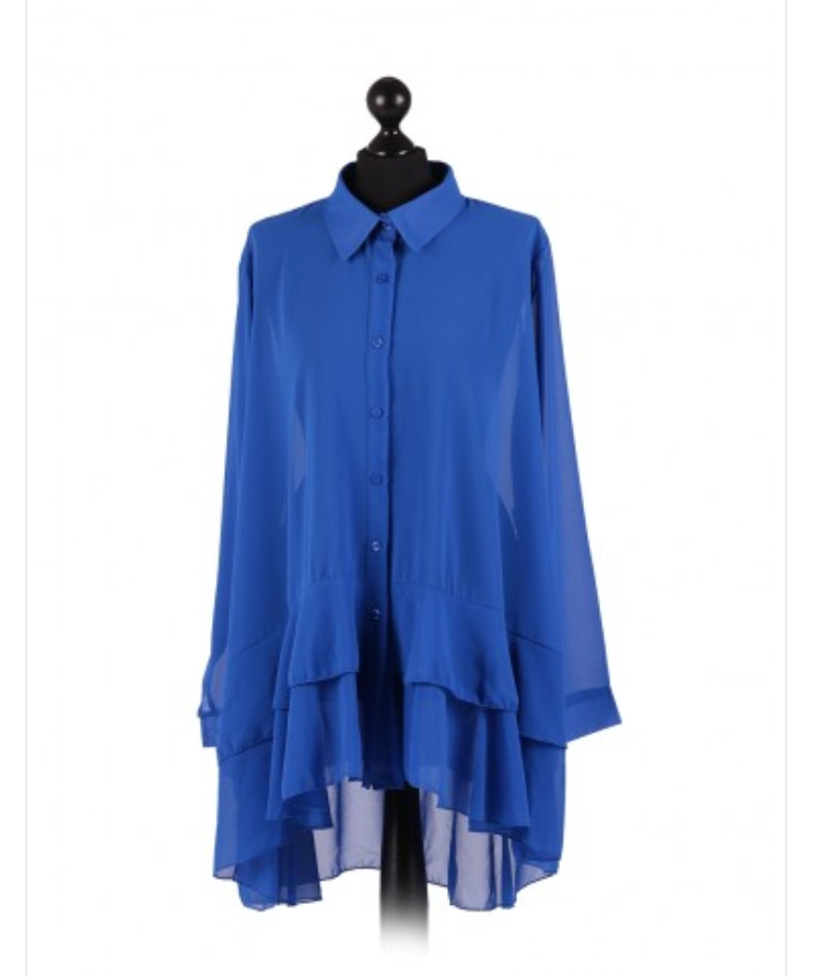 Chiffon Frilled high low hem top - free size Italian style - Royal Blue - Sartorial Boutique and Gifts