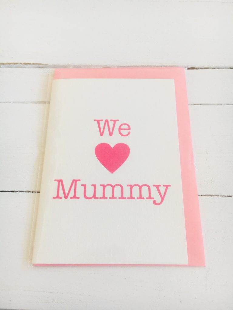 We love heart Mummy card - pink - Sartorial Boutique and Gifts