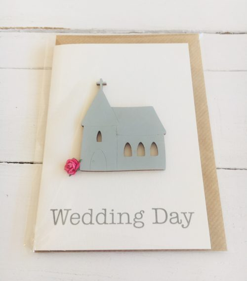 Wedding Day card - wooden church with pink rose design- Sartorial Boutique and Gifts
