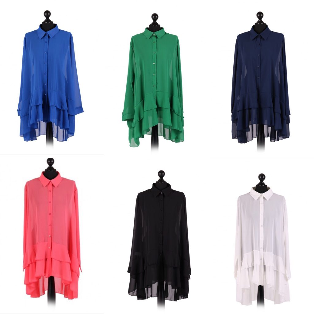 Chiffon Frilled high low hem top - free size Italian style - Sartorial Boutique and Gifts