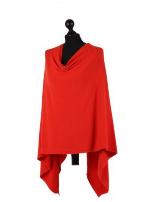 Italian free size poncho with drop cowl neckline - red - Sartorial Boutique and Gifts