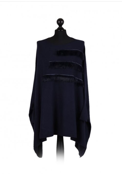 Italian free size poncho with fur panel detail on the front - navy - Sartorial Boutique and Gifts