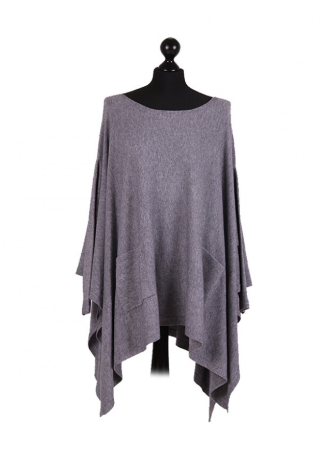 Italian free size poncho with front pockets and sleeves - Grey - Sartorial Boutique and Gifts