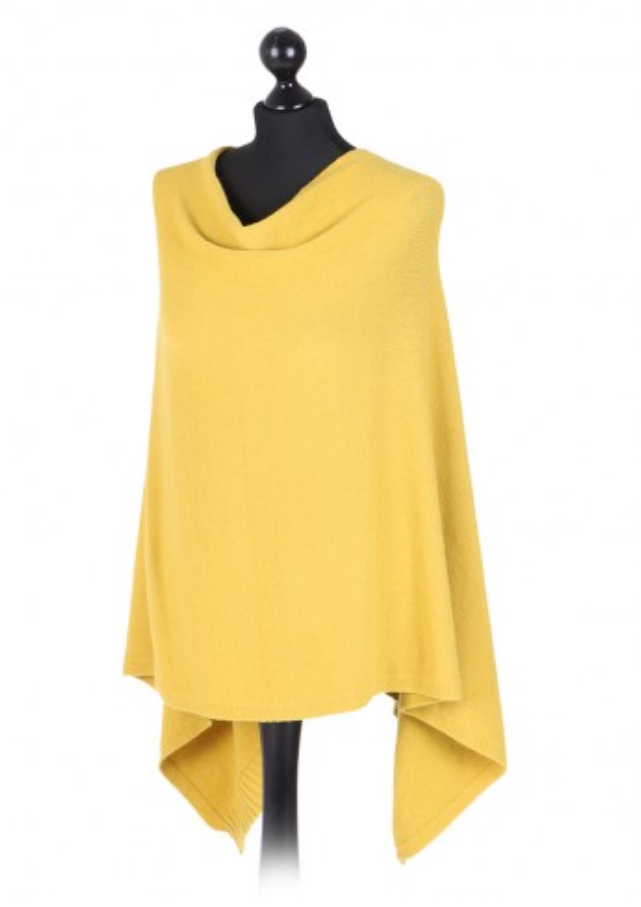 Italian free size poncho with drop cowl neckline - mustard - Sartorial Boutique and Gifts
