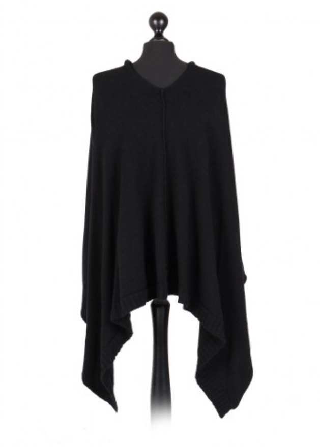 Italian free size poncho with drop cowl neckline - black - Sartorial Boutique and Gifts