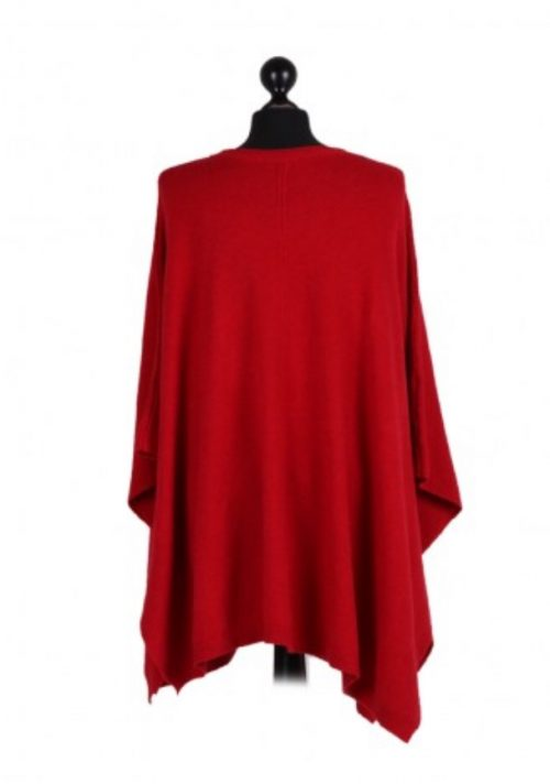 Italian free size poncho with front pockets and side button detail - Red - Sartorial Boutique and Gifts