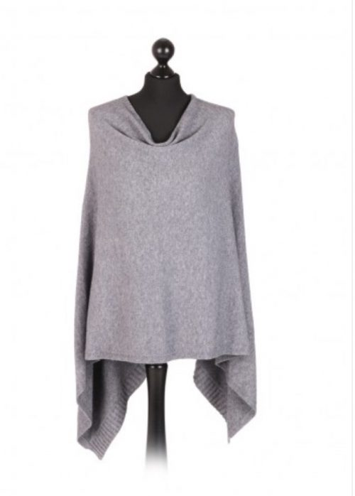 Italian free size poncho with drop cowl neckline - grey - Sartorial Boutique and Gifts