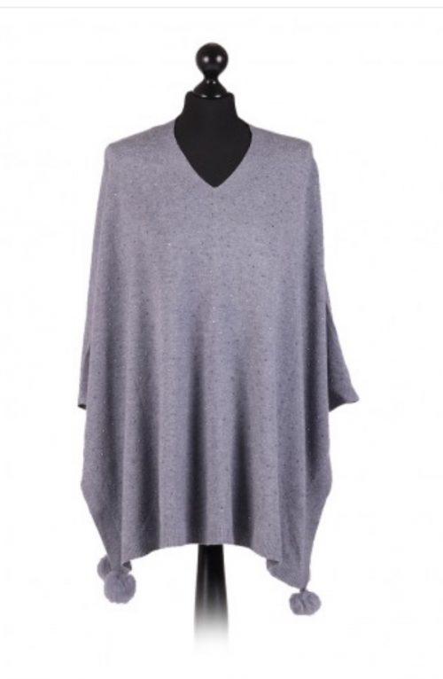 Italian v-neck free size poncho with glitter detail on the front and fur pom poms - grey - Sartorial Boutique and Gifts