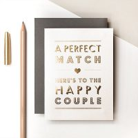 "Metallic gold foil text ""A Perfect Match - Here's to the Happy Couple"" card - Coulson Macleod - Sartorial Boutique and Gifts"