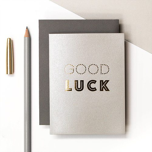 "Metallic gold foil text ""Good Luck"" card - Coulson Macleod - Sartorial Boutique and Gifts"