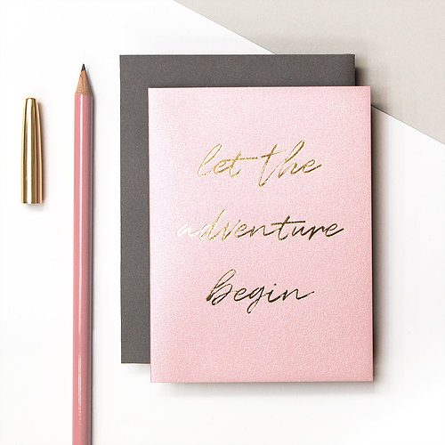 "Metallic gold foil text ""Let the Adventure Begin"" card - Coulson Macleod - Sartorial Boutique and Gifts"
