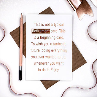 Rose Gold Foil text Retirement card - Coulson Macleod card - Sartorial Boutique and Gifts