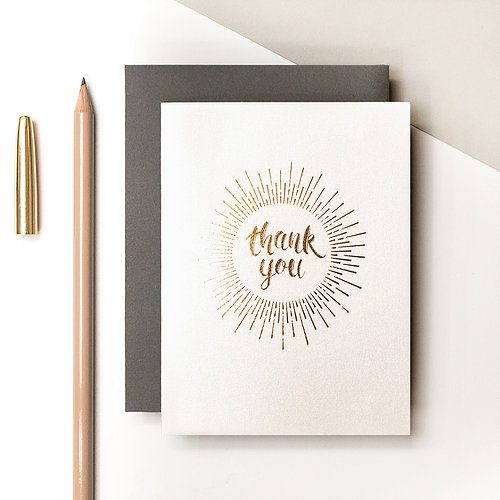 "Metallic gold foil text ""Thank You"" card - Coulson Macleod - Sartorial Boutique and Gifts"