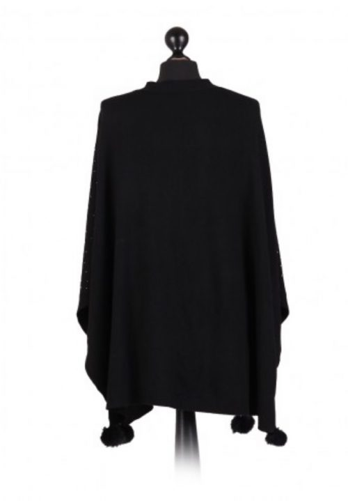 Italian free size poncho with glitter detail on the front and fur pom poms - black - Sartorial Boutique and Gifts
