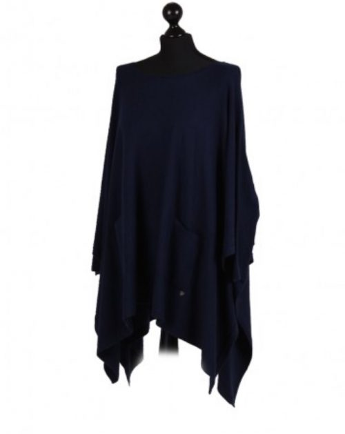 Italian free size poncho with front pockets and sleeves - Navy - Sartorial Boutique and Gifts
