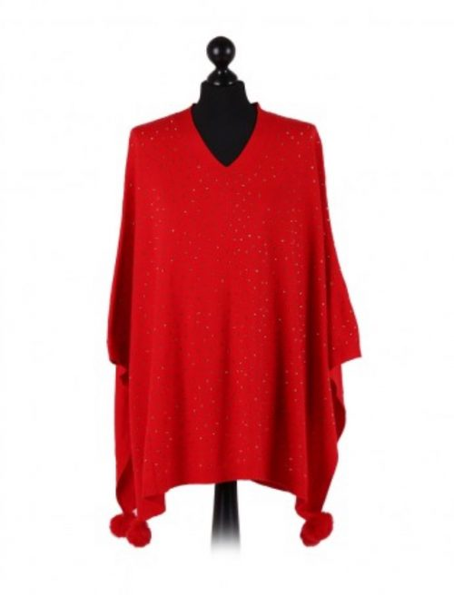 Italian v-neck free size poncho with glitter detail on the front and fur pom poms - red - Sartorial Boutique and Gifts