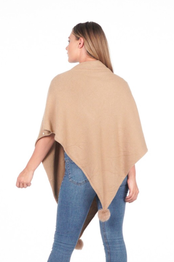 Italian free size knitted cape with faux fur pom pom and faux pearl design