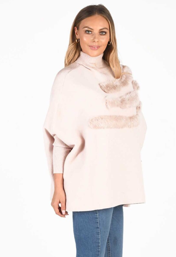 Italian freesize High Neck Poncho Style Jumper With Multi Fur Stripe Detail And Angora Mixed Fabric