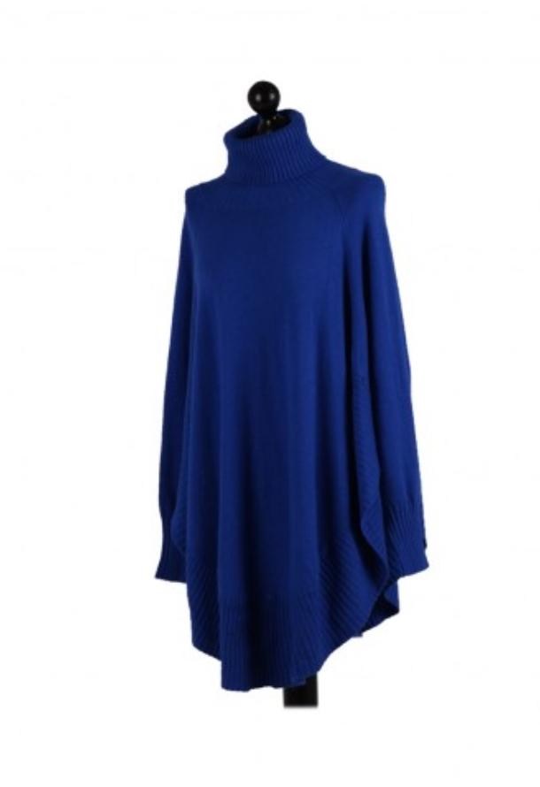 Italian High Neck Freesize Poncho Jumper - Royal Blue