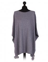 Italian free size poncho with glitter detail on the front and fur pom poms - grey - Sartorial Boutique and Gifts